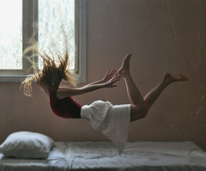 girl, bed, and fly image