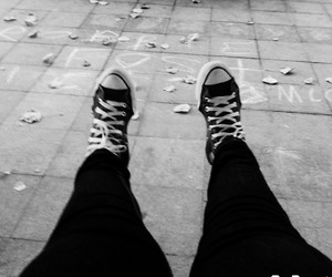 black & white, converse, and shoes image