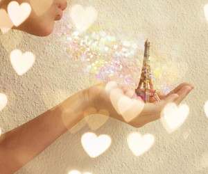 paris, eiffel, and hearts image