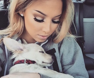 dog, girl, and makeup image