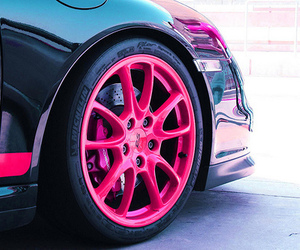 car, pink, and wheel image