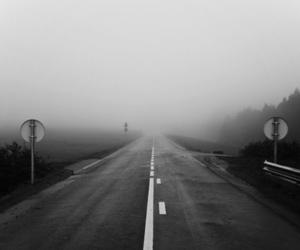 black and white, road, and fog image