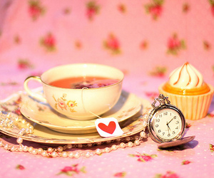 cupcake, heart, and pocket watch image