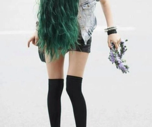 flower, girl, and green image