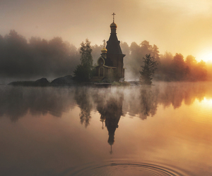 church, nature, and sunset image