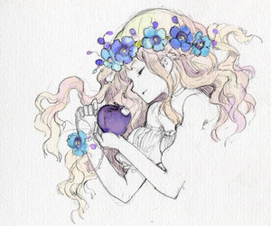 anime, girl, and flowers image