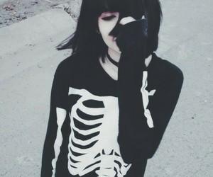 black, skeleton, and grunge image