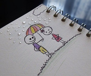 love, rain, and boy image