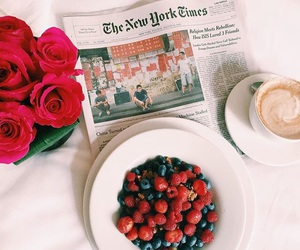 coffee, newspaper, and roses image