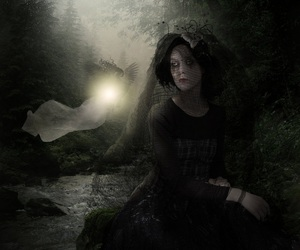 dark, black and white, and girl image