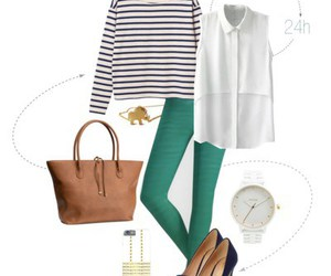 leggings, outfit, and stripes image