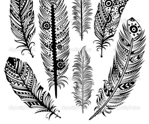 black and white, draw, and feather image