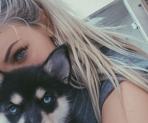girl, dog, and eyes image