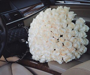 car, chanel, and roses image