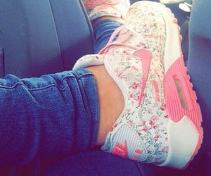 nike, flowers, and pink image