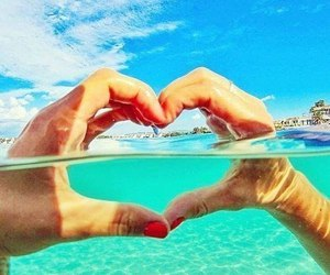 happiness, heart, and sea image