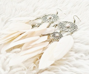 earrings, fashion, and feather image