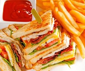 club, potatoes, and sandwich image