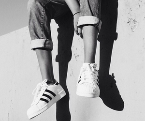 adidas, black and white, and style image