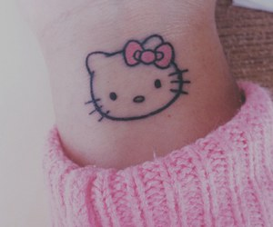 hello kitty, tattoo, and pink image