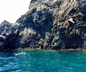 cliff, jumping, and cliff jumping image