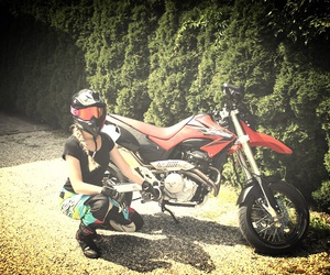 girl, Honda, and red image