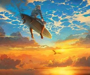 sky, surf, and art image