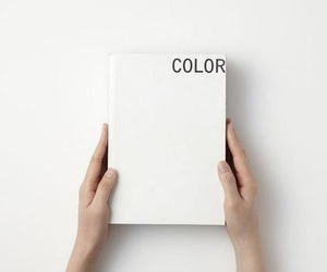 book, white, and color image