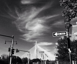 black and white, sky, and boston image