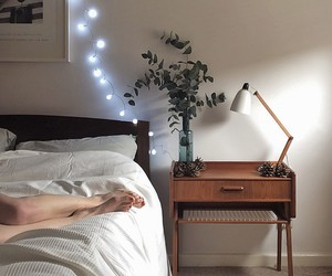 room, bed, and light image