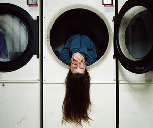 girl, hair, and washing machine image