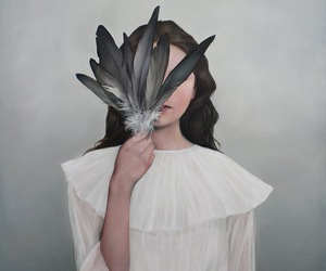 girl, feathers, and art image
