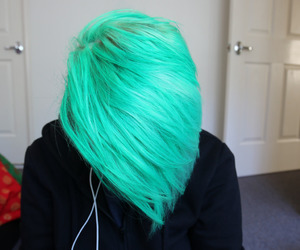 green hair, alt girl, and dyed hair image