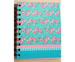 blue, notebook, and pink image