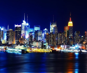new york, city, and lights image