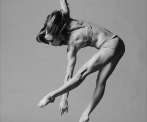ballerina, black and white, and jump image