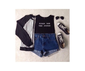 black top, converse, and fashion image