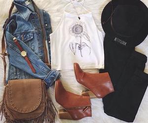 bag, black pants, and boots image
