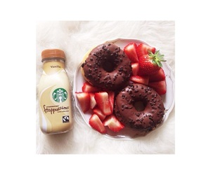 donuts, starbucks, and strawberry image