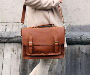 bag, brown, and fall image