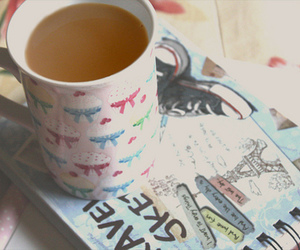 book, cup, and sweet image