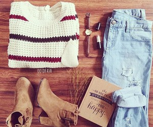 outfit, jeans, and sweater image