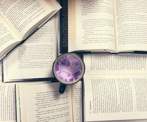 books, coffee, and library image