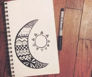 art, black and white, and moon image