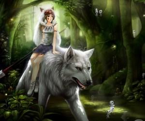 anime, wolf, and princess mononoke image