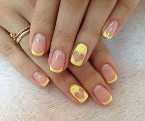 nails, heart, and yellow image