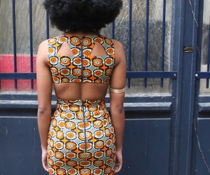 Afro, black woman, and fashion image