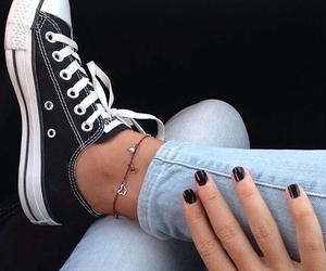 black, nails, and converse image