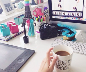 desk, coffee, and school image