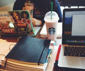 coffee, drinks, and homework image